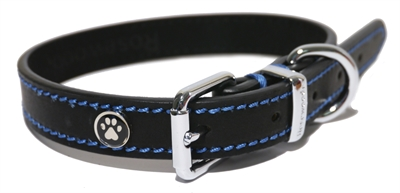 LUXURY LEATHER HALSBAND HOND LEER LUXE ZWART