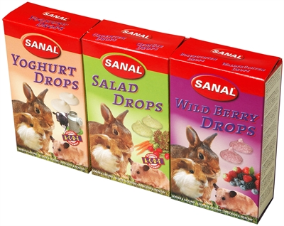 SANAL KNAAGDIER 3-PACK DROPS YOGURT/SALAD/WILD BERRY