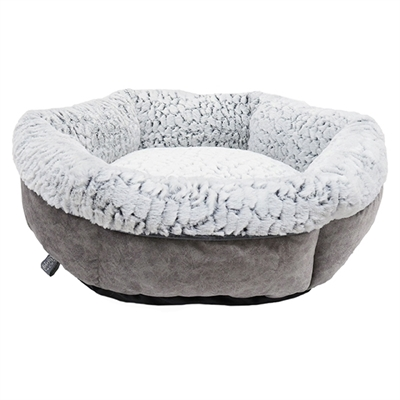 ROSEWOOD HONDENMAND LUXURY PLUSH ROND GRIJS