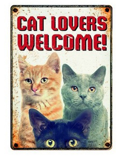 PLENTY GIFTS WAAKBORD BLIK CAT LOVERS WELCOME