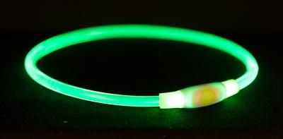 TRIXIE HALSBAND USB FLASH LIGHT LICHTGEVEND OPLAADBAAR GROEN