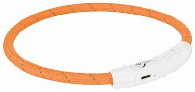TRIXIE HALSBAND HOND FLASH LICHTHALSBAND USB TPU / NYLON ORANJE